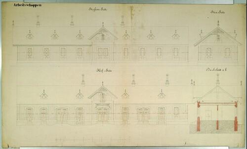 Wien II, Prater (Schüttel), Etablissement Hasenauer, Arbeitsgebäude, Aufrisse von (Freiherr) Carl von Hasenauer
