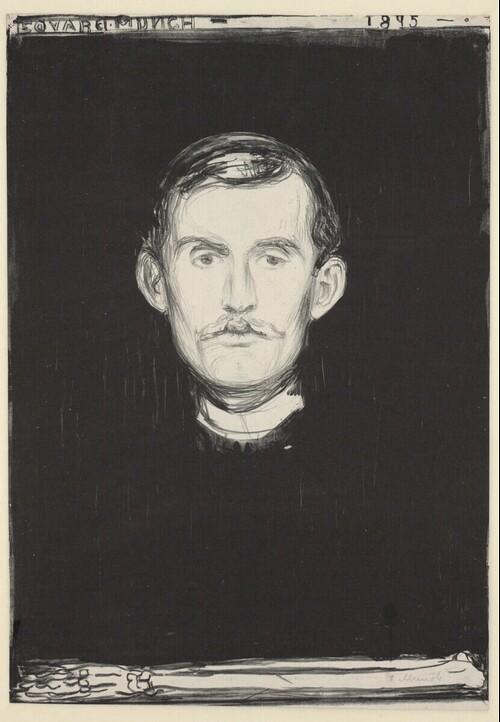 Selbstporträt (mit Knochenarm) von Edvard Munch