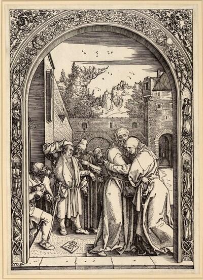 Joachim und Anna unter der Goldenen Pforte (Marienleben, 4) von Albrecht Dürer
