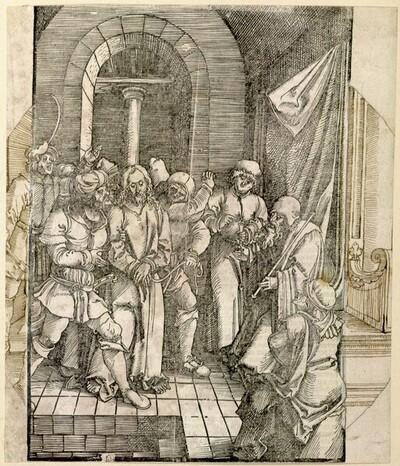 Christus vor dem Hohepriester Hannas (Scheibenriss) von Hans Schäufelin