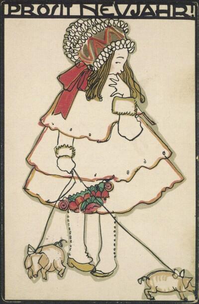 Postkarte Nr. 745 der Wiener Werkstätte: Prosit Neujahr! (Mädchen mit Neujahrsschweinchen an der Leine)
