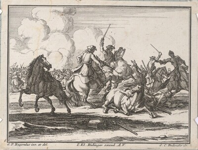 Reiter-Kampf mit Fussvolk von Georg Conrad Bodenehr