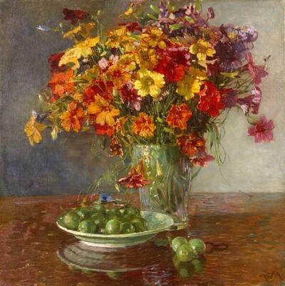 Blumenstrauß in Glasvase und Stachelbeeren von Carl Moll
