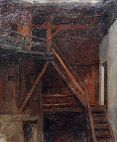 Inneres einer Scheune von Albin Egger-Lienz