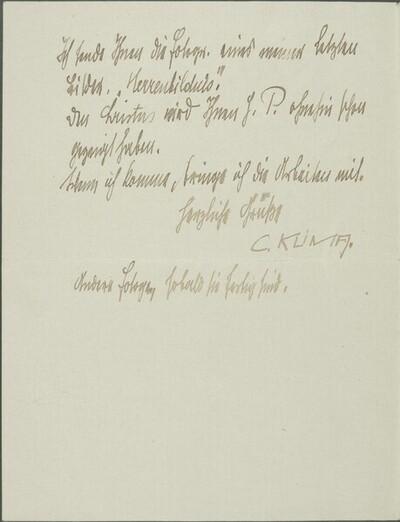 Brief von Carl Klima an Egon Schiele vom 3. April 1912 von Carl Klima