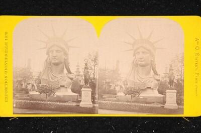 Weltausstellung in Paris 1878: Büste der Freiheitsstatue von Bartholdi von Louis Emmanuel Alexandre Quinet