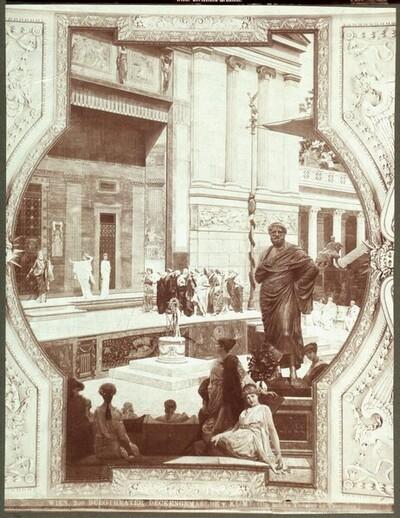 Detail aus dem Deckengemälde des Burgtheaters, Das antike Theater in Taormina