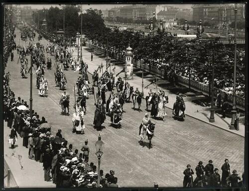 Kaiser-Huldigungs-Festzug in Wien 1908, I. Gruppe (Rudolf von Habsburg) von Louis Held
