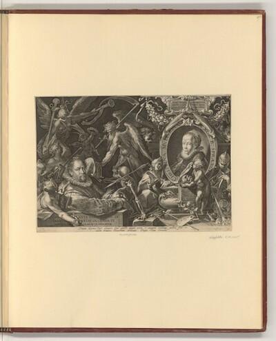 Allegorisches Porträt, Bartolomäus Spranger vor dem Bildnis seiner Frau von Aegidius Sadeler d. J.