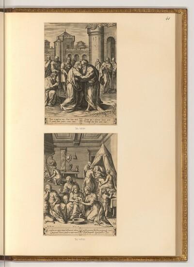 Die Begegnung Annas und Joachims an der Goldenen Pforte; Die Geburt Mariens von Hans Collaert d. Ä.