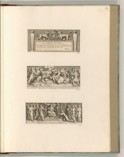 Titelblatt mit Dedikation, Szenen aus dem Alten und Neuen Testament von Pietro Santo Bartoli