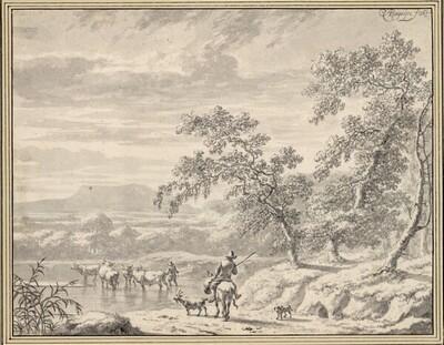 Südliche Landschaft mit Viehtränke in einer Furt von Abraham Jansz. Begeyn