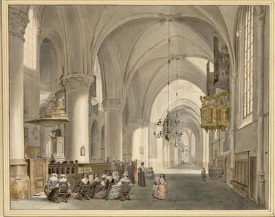Blick in ein Seitenschiff von St. Bavo in Haarlem, während einer Sonntagspredigt von Cornelis van Noorde