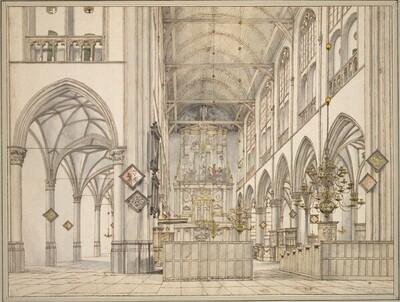 Innenansicht der Sankt-Laurens-Kirche (Groote Sint Laurenskerk) in Alkmaar von Pieter Jansz. Saenredam