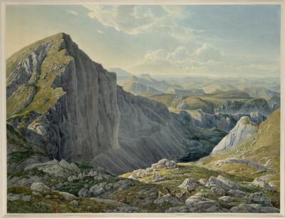Der Große Höllstein mit der Ansicht gegen Mariazell (Guckkastenblatt) von Eduard Gurk