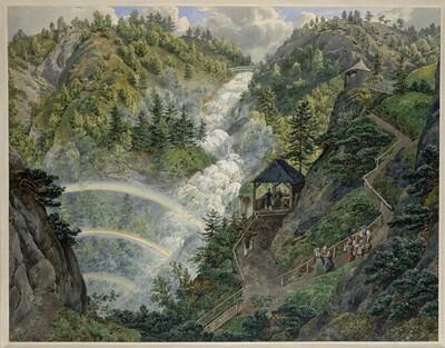 Der Lassingfall bei Mariazell (Guckkastenblatt) von Eduard Gurk
