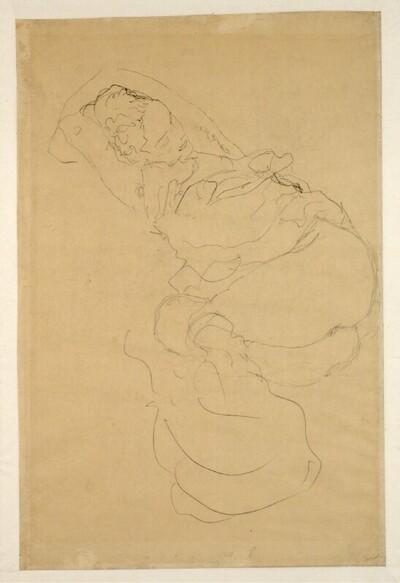 """Liegender Halbakt, die Arme hinter dem Kopf verschränkt (Studie für """"Die Jungfrau"""") von Gustav Klimt"""