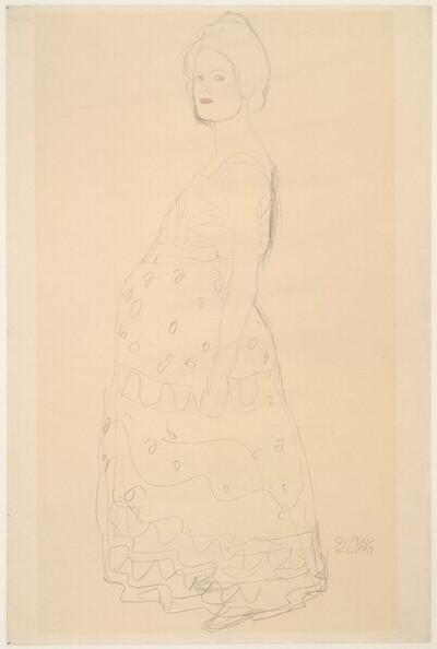 """Bekleidete Schwangere im Profil, das Gesicht dem Betrachter zugewendet (Studie für """"Die Hoffnung II"""") von Gustav Klimt"""