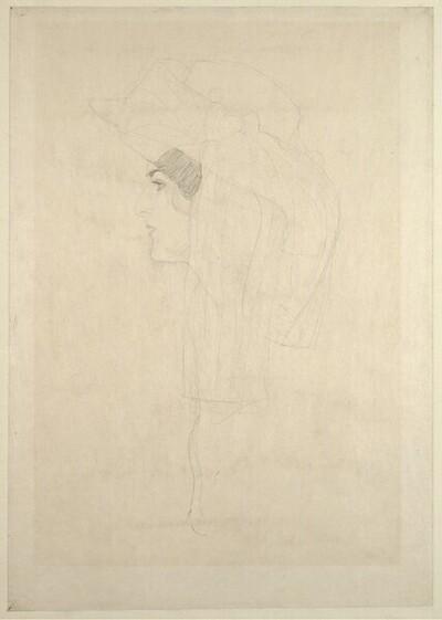 Kopf einer Dame im Profil, mit Hut von Gustav Klimt