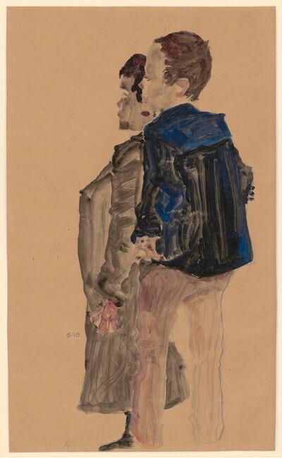 Rückenansicht zweier Knaben von Egon Schiele