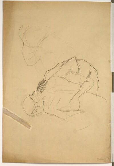 """Zwei ringende Männer, Detailskizze (Studien für die Übertragungsskizze für """"Die Medizin"""") von Gustav Klimt"""