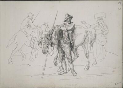 Römisches Skizzenbuch: Zwei Bauern mit Pferden lassen sich von einer Landfrau den Weg weisen von Ernst Christian Johann Friedrich Preller der Ältere