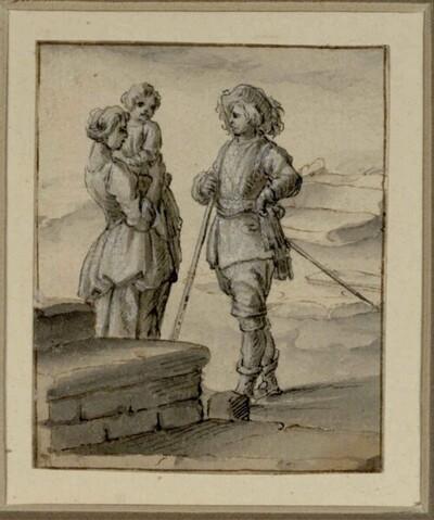 Soldat mit Frau und ihrem Kind im Gespräch von Franz de Paula Ferg