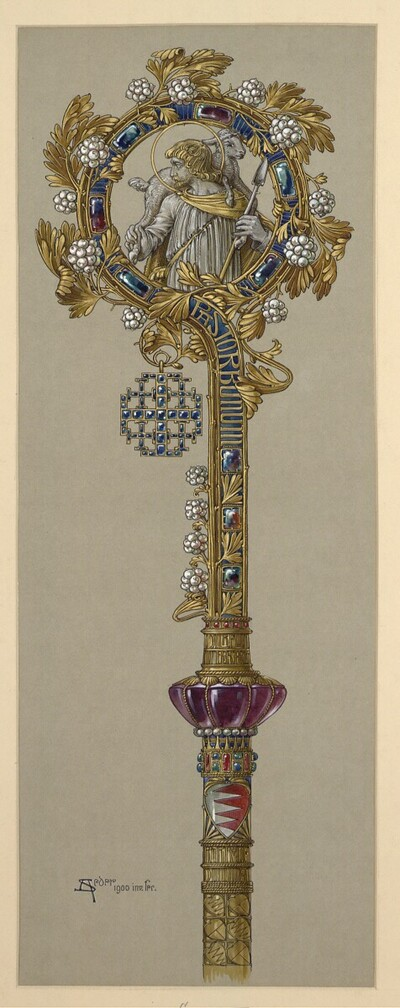 Entwurf zum Äbtissinnenstab für Stift Heiligengrabe (Cah.) von Anton Johann Nepomuk Seder