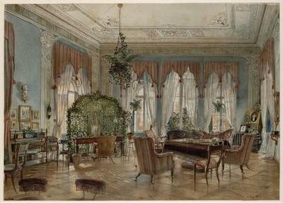 Salon der Fürstin Henriette Odescalchi in Schloss Hirtenberg von Rudolf von Alt
