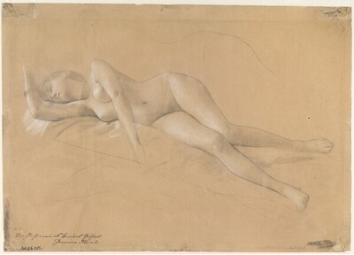 """Liegende Mänade (Studie für """"Altar des Dionysos"""", Wiener Burgtheater) von Gustav Klimt"""