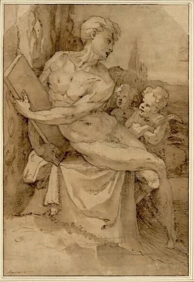 Sitzender Jünglingsakt mit einer Steintafel, neben ihm zwei Putten von Domenico Beccafumi gen. Mecarino