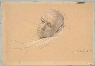 """Kopf eines liegenden Mannes (Studie für """"Theater in Taormina"""", Wiener Burgtheater) von Gustav Klimt"""