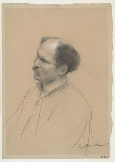 """Mann in Dreiviertelansicht (Studie für """"Shakespeares Globetheater"""", Wiener Burgtheater) von Gustav Klimt"""