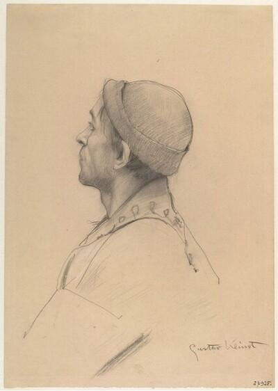 """Mann mit Mütze im Profil (Studie für """"Shakespeares Globetheater"""", Wiener Burgtheater) von Gustav Klimt"""