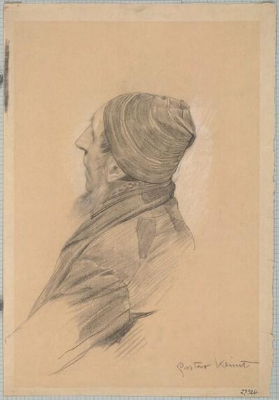 """Mann mit Bart und Mütze im verlorenen Profil (Studie für """"Shakesepeares Globetheater"""", Wiener Burgtheater) von Gustav Klimt"""