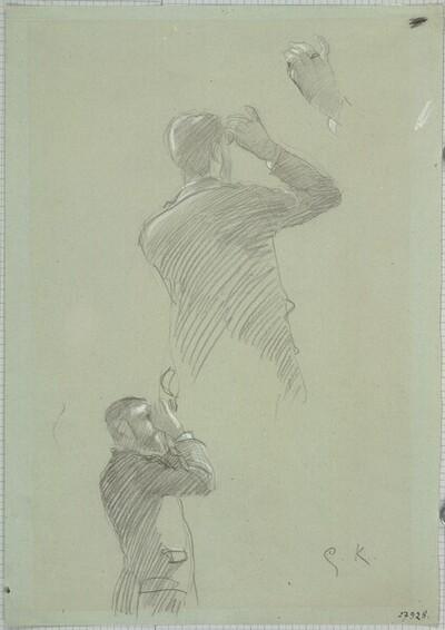 """Zwei Skizzen eines Herrn mit Theaterglas, Skizze der rechten Hand (Studien für """"Zuschauerraum des alten Burgtheaters"""") von Gustav Klimt"""