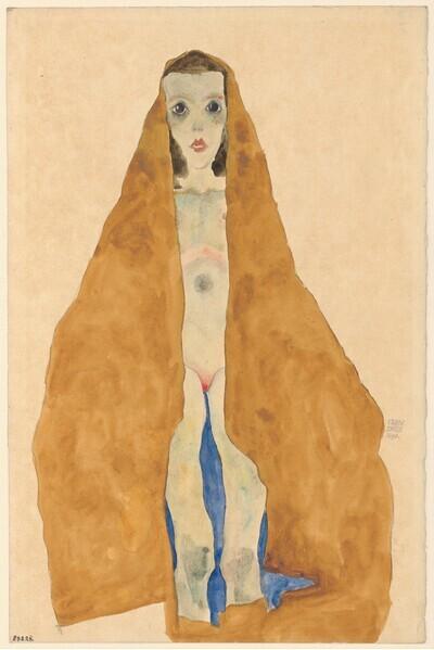 Junger Mädchenakt im ockerfarbenen Tuch von Egon Schiele