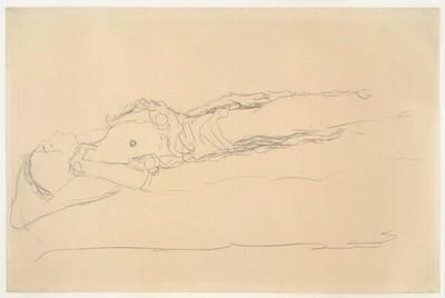 Liegender Halbakt nach links von Gustav Klimt