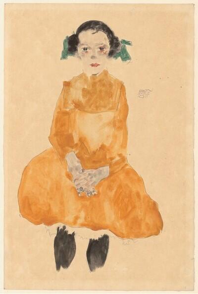 Mädchen im ockergelben Kleid von Egon Schiele