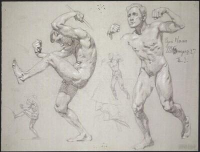 Schlagender und laufender Jünglingsakt und zwei kleinere Wiederholungen von Alexander Rothaug