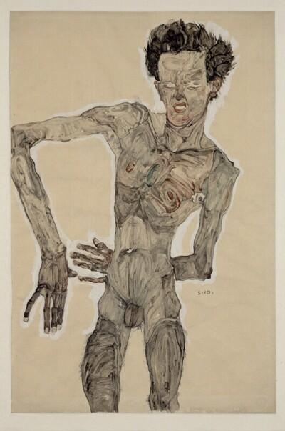 Grimassierendes Aktselbstbildnis von Egon Schiele