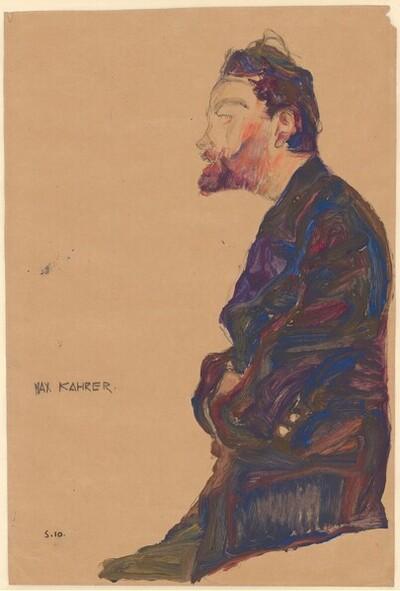Max Kahrer im Profil von Egon Schiele