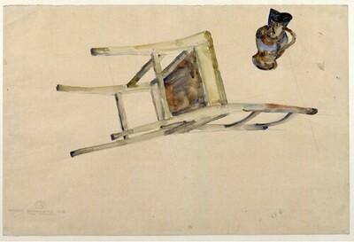 Organische Bewegung des Sessels und Kruges von Egon Schiele
