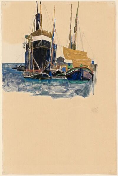Dampfer und Segelboote im Hafen von Triest