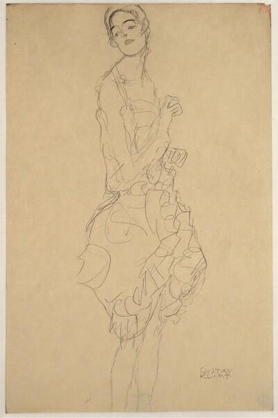 """Stehende Tänzerin im Profil, den Kopf nach links gewendet (Studie für """"Die Tänzerin"""" [""""Ria Munk II""""]) von Gustav Klimt"""
