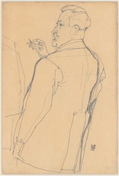 Bildnis Heinrich Benesch in Rückenansicht von Egon Schiele