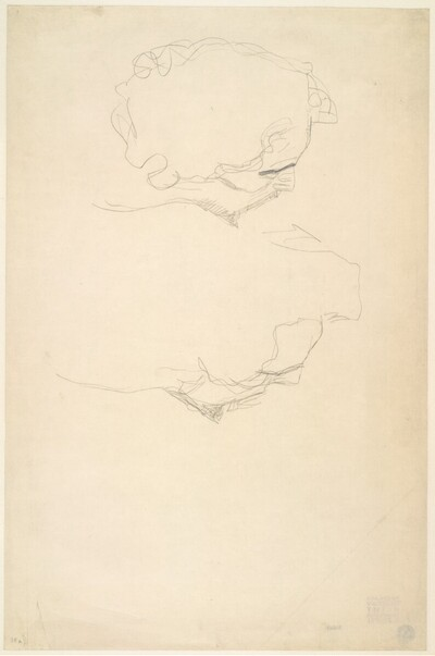 """Zwei Männerköpfe im verlorenen Profil (Studien für """"Der Kuss"""") von Gustav Klimt"""