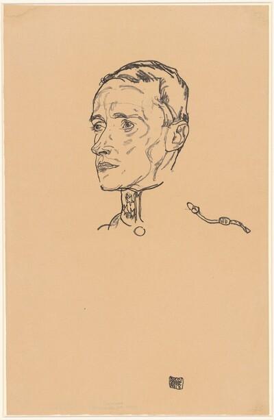 Porträt Hugo Steiner in Uniform von Egon Schiele
