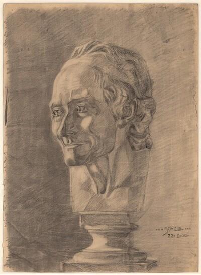 Büste des Voltaire von Egon Schiele