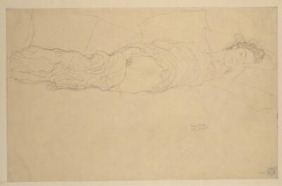 """Liegender Halbakt nach rechts (Studie für """"Wasserschlangen II"""", 1. Zustand) von Gustav Klimt"""